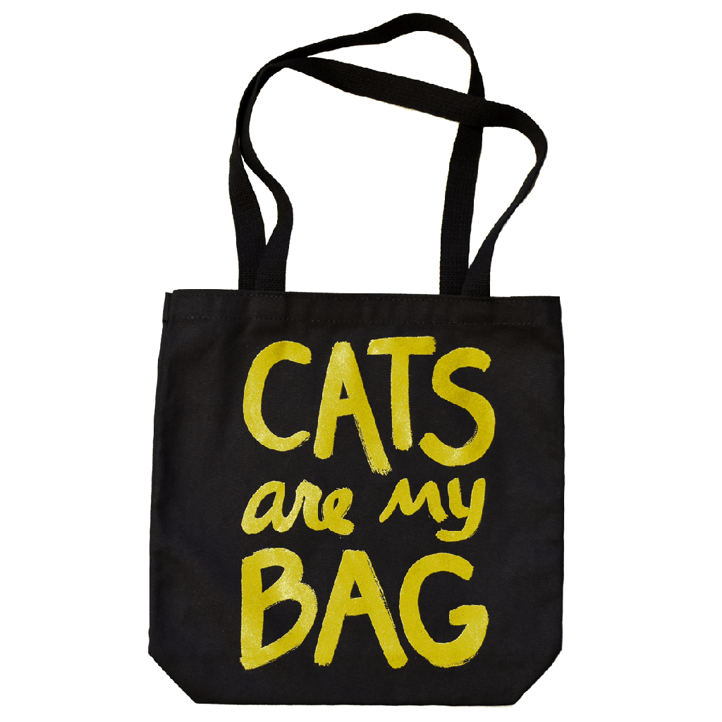 Cats Are My Bag Tote - Black & Gold by Xenotees