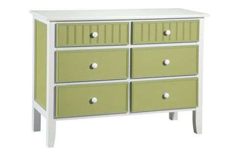 6 Drawer Tropical Painted Wood Dresser
