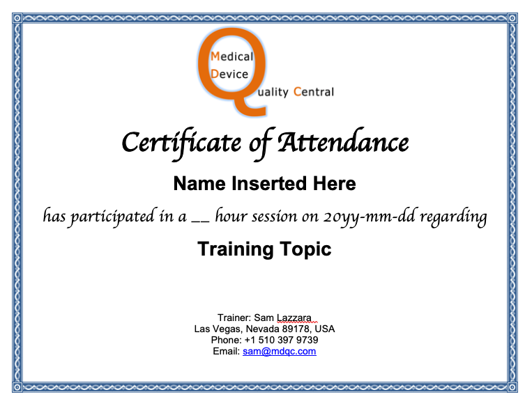 Training Webinar Certificate of Attendance