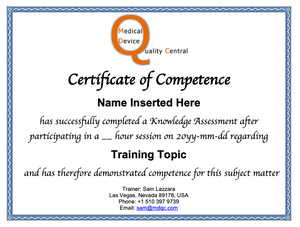 Training Webinar Certificate of Competence