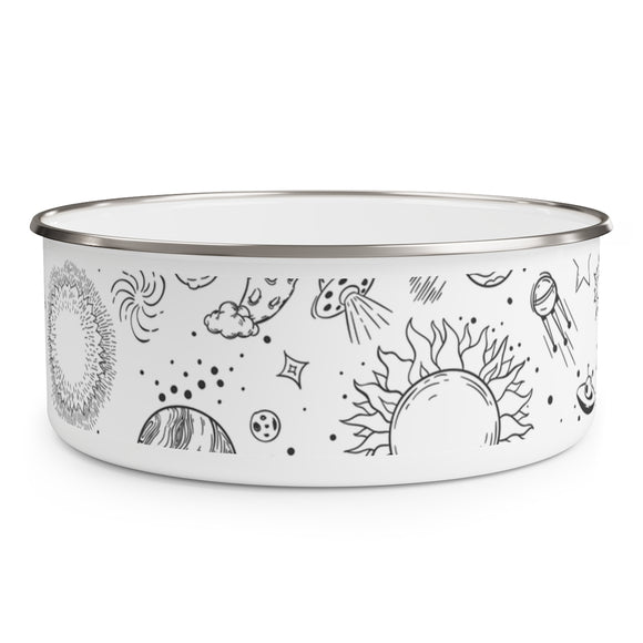 ♥ 40oz/30oz/20oz Space Doodle Enamel Food Bowl with Lid ♥ - MakersFolly®