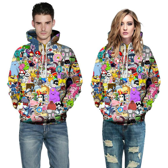 ♥ Harajuku Anime Cartoon Hoodies -- Kawaii 3D Unisex Hooded Sweatshirt ♥ - MakersFolly®