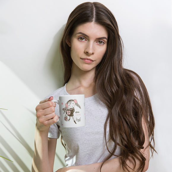 ♥ 11oz or 15oz Happy Girl Merry Christmas Premium Enamel Mug ♥ - MakersFolly®