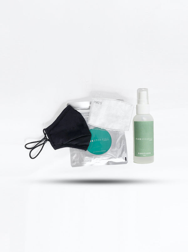 Care Package: Adult Mask ( No-Valve ) + Filter + Adult Filters (10 Pack ) + Sanitizer Spray