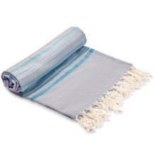 Load image into Gallery viewer, Antalya Striped Eco-friendly Spa/Beach Turkish Towel - Turquoise