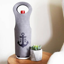 Load image into Gallery viewer, Initials with Anchor Wine Bag