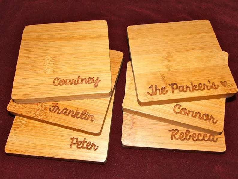Bamboo Coaster Set of 6 with a different engraving on each coaster