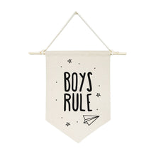 Load image into Gallery viewer, Boys Rule Hanging Wall Banner