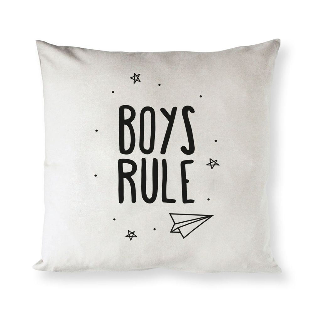 Boys Rule Baby Cotton Canvas Pillow Cover