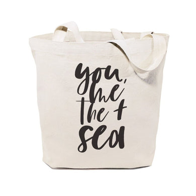 You, Me and the Sea Cotton Canvas Tote Bag