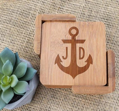 Anchor Initials Bamboo Coaster Set
