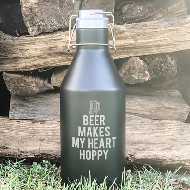 Beer Makes My Heart Hoppy Growler