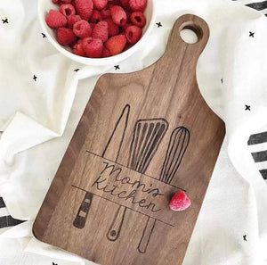 Mom's Kitchen Banner and Utensil Paddle Board