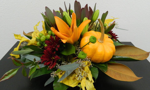 Pumpkin and Magnolia Centerpiece