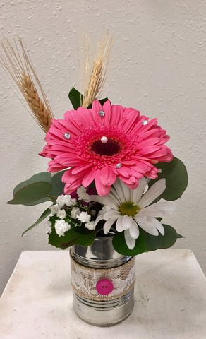 Country Chic Gerbera Can