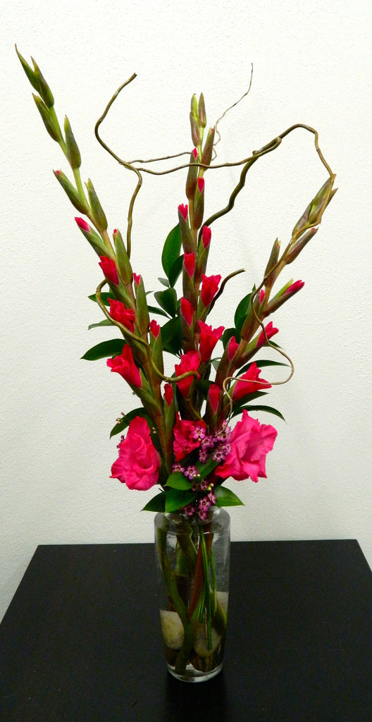 Gladiolas with Curly Willow