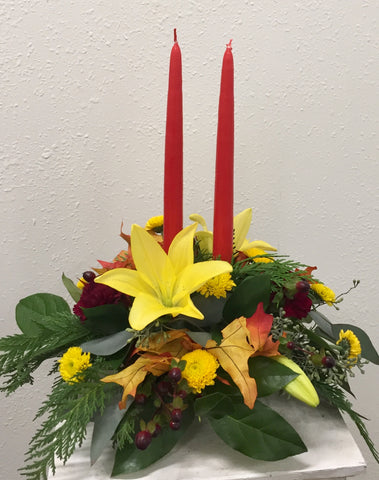 Round Lilies and Berries Centerpiece