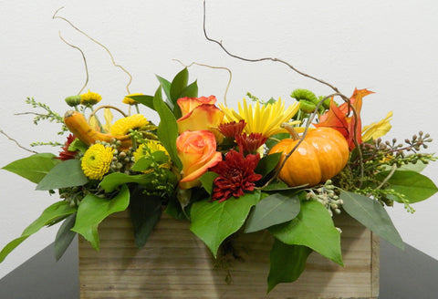 Pumpkins, Gourds and Mums Centerpiece