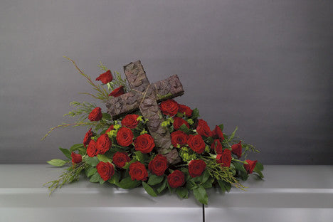 Red Rose with Cross Casket Spray