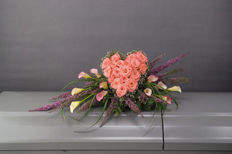 Callas with Heart Casket Spray