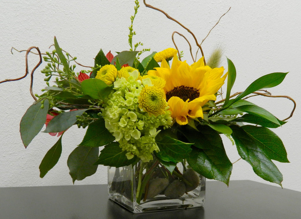 Sunflower and Hydrangea Cube