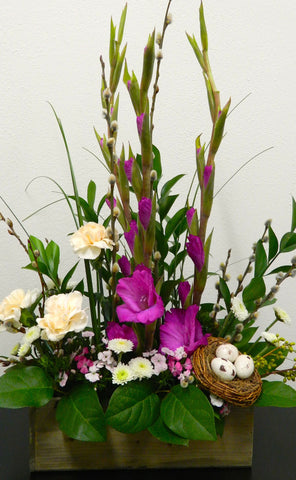 Gladiolas in Wood Box