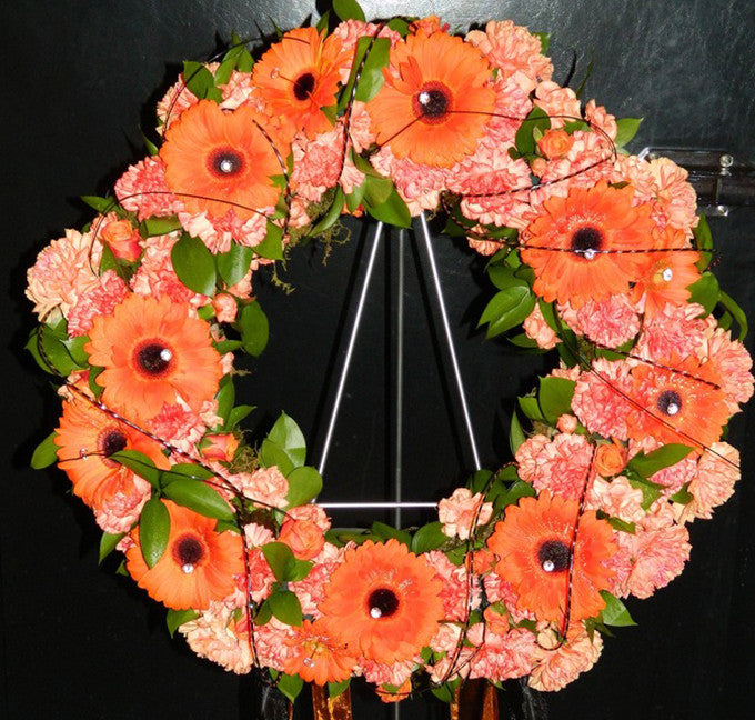 Gerbera and Dianthus Wreath
