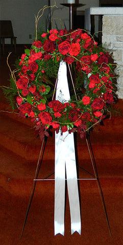 Red Dianthus and Rose Wreath