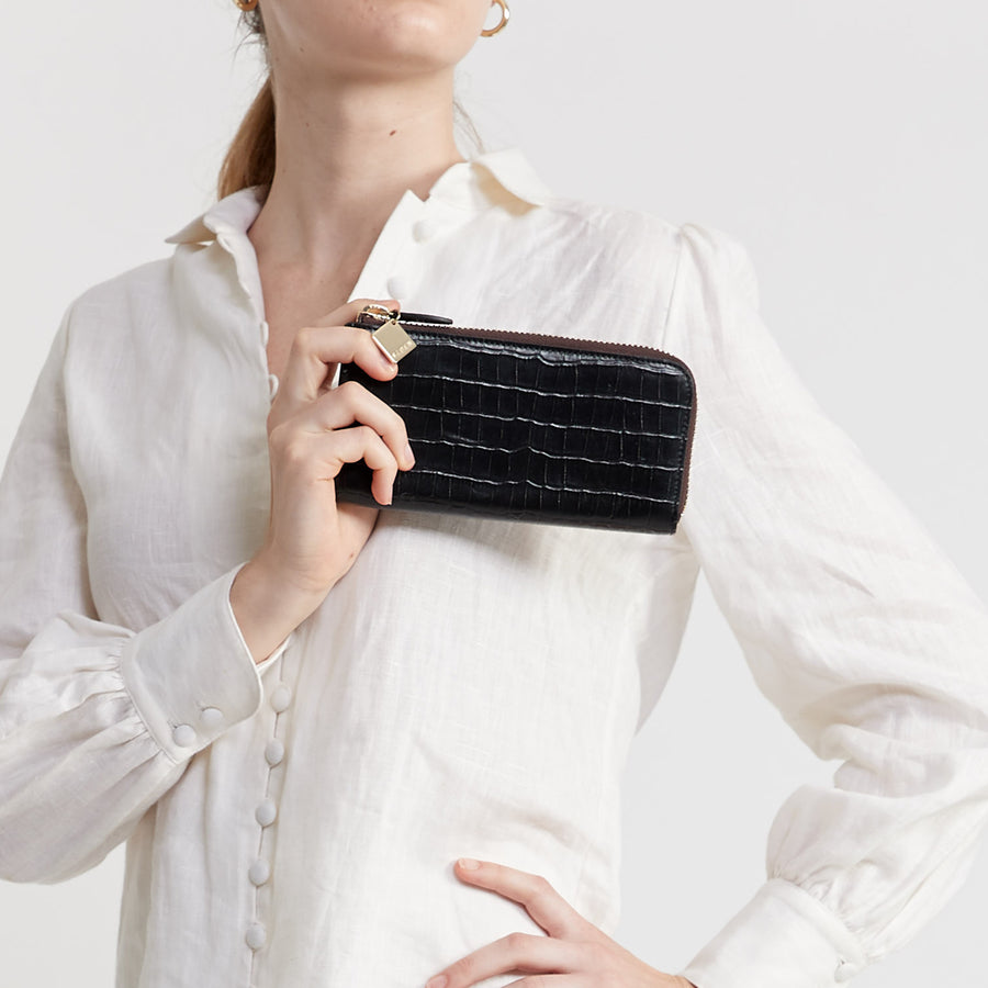 Zoey Wallet Black Croc