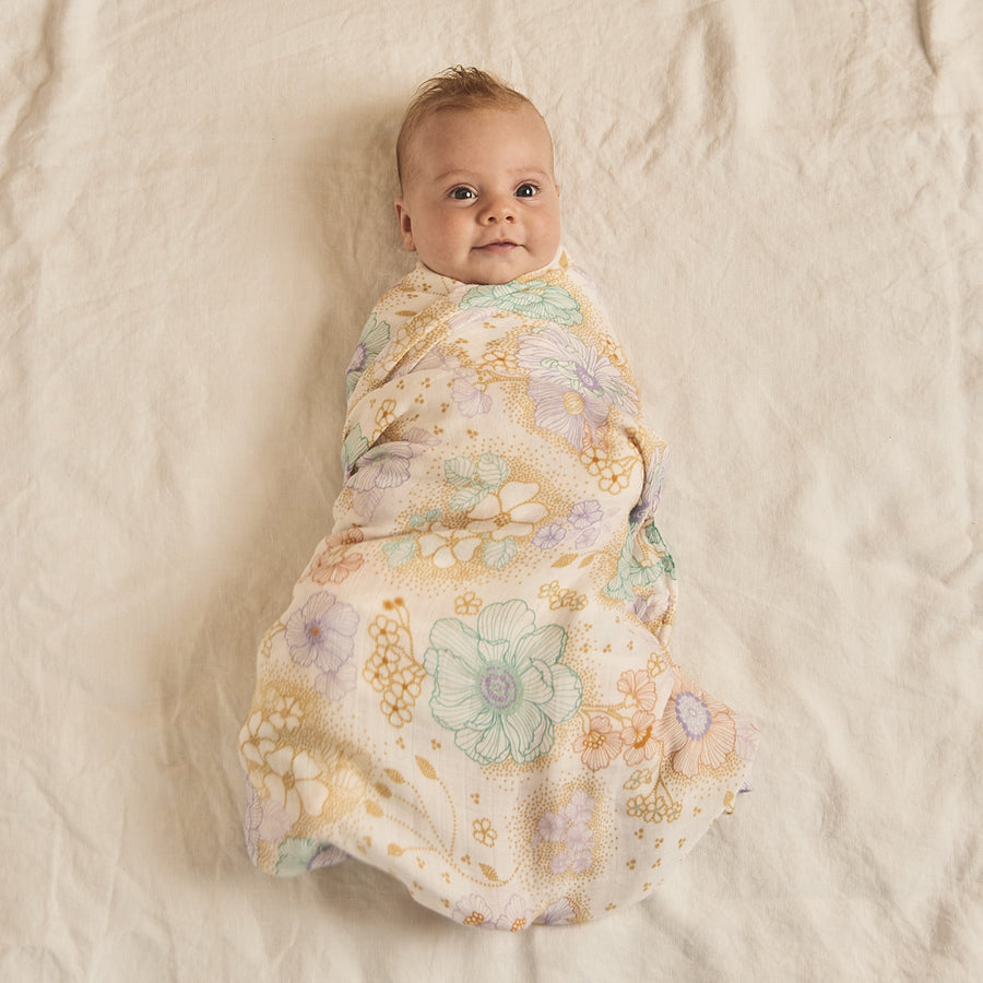 Apple Blossom Muslin Swaddle