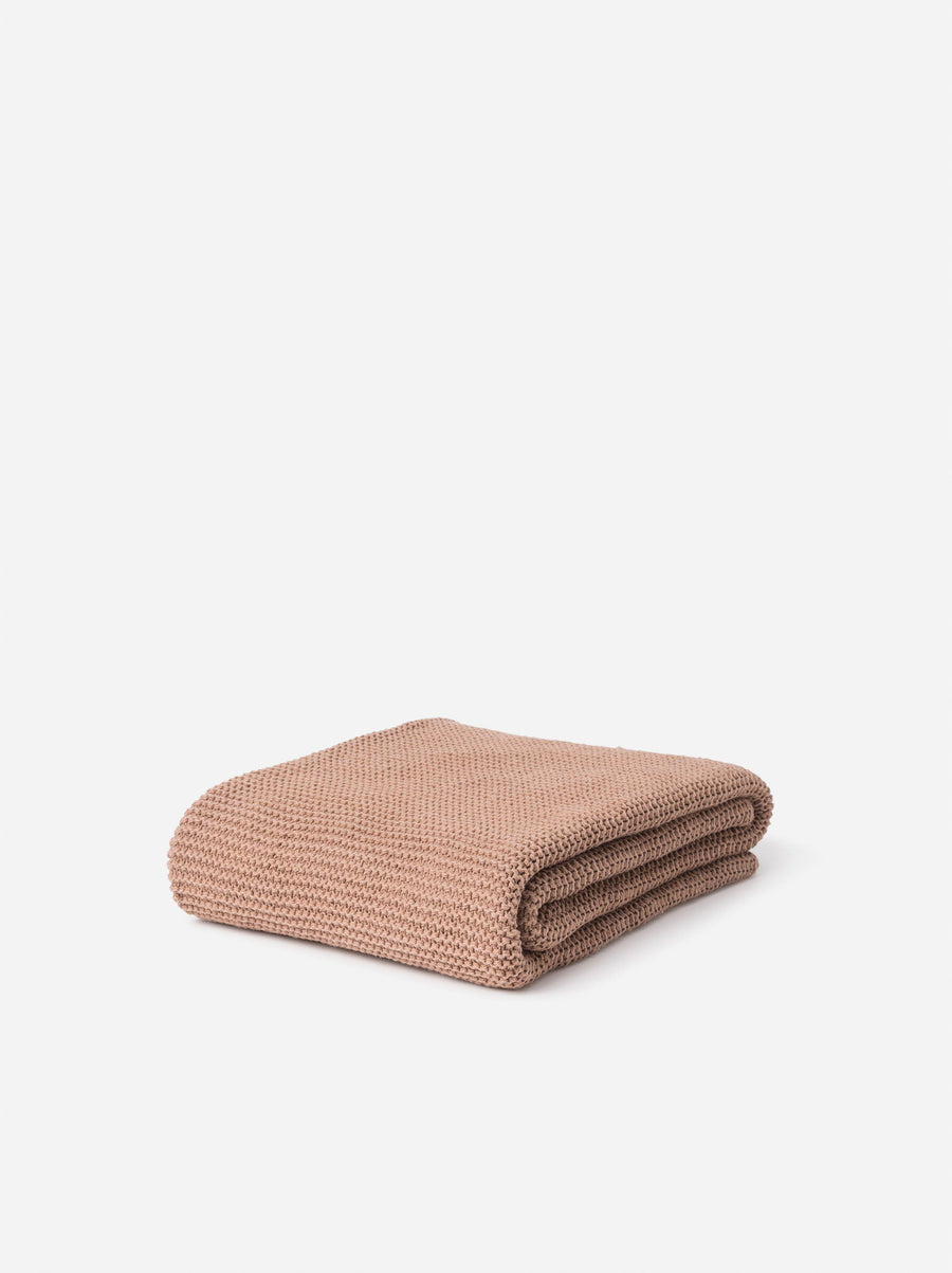 Purl Knit Cotton Throw Quinoa