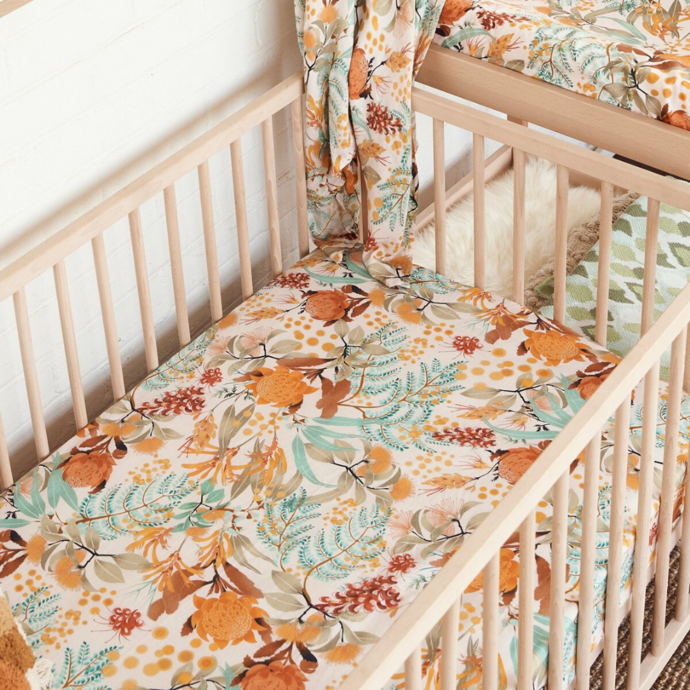 Wattle Wander Fitted Cot Sheet