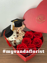 Load image into Gallery viewer, Graduation bear with roses Gift box (Free delivery within Richmond)