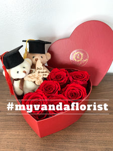 Graduation bear with roses Gift box (Free delivery within Richmond)