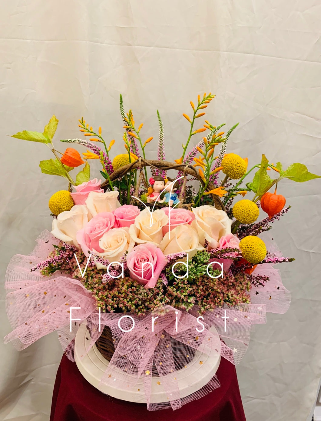 Floral Basket with Lover's Swing