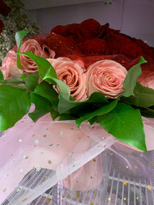 50 stems heart shape roses