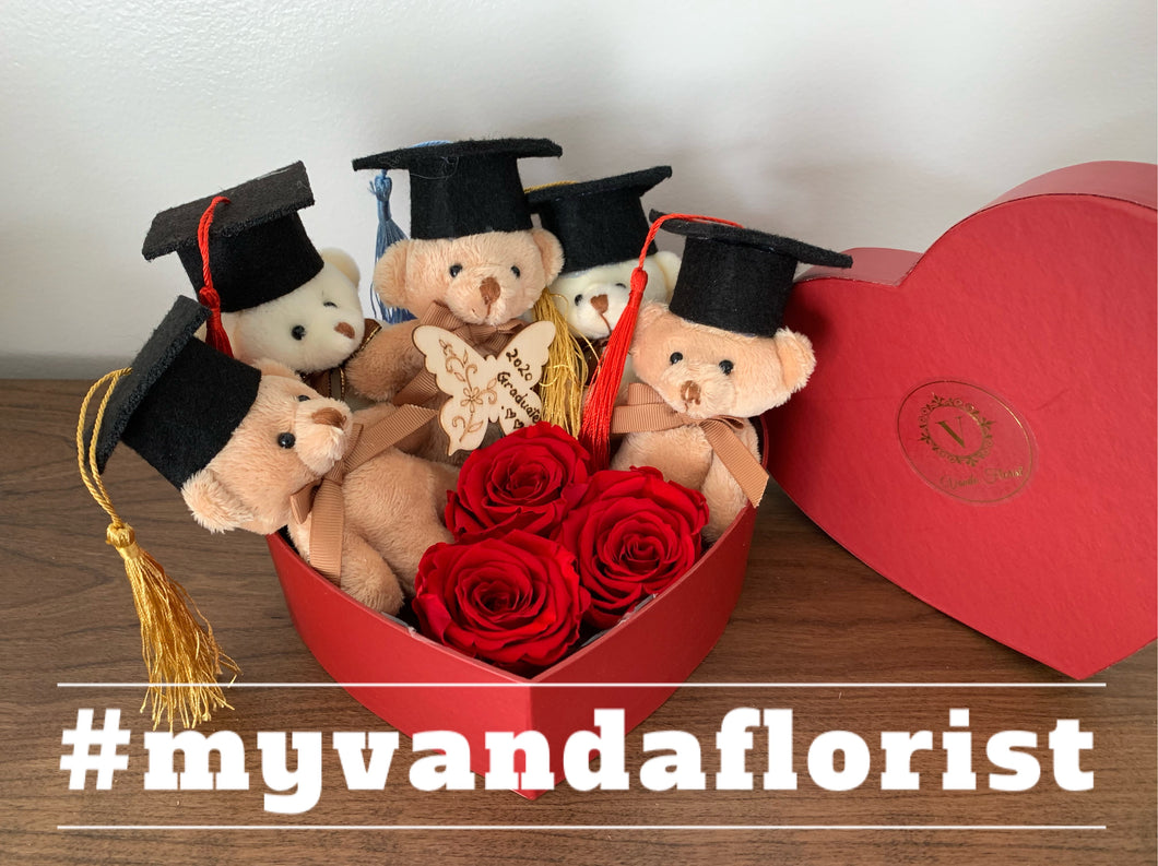 Deluxe Graduation bears with roses Gift box (Free delivery within Richmond