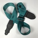 "Franklin 2"" Teal Aviator Seat Belt Strap with Pebbled Glove Leather End Tab"