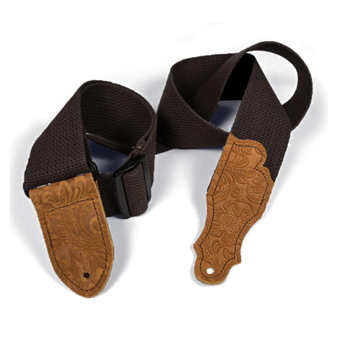 "Franklin 2"" Chocolate Cotton Strap with Embossed Caramel Suede End Tab"