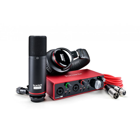 Focusrite Scarlett Studio 2i2 Gen 3 USB C 2x2 Audio Interface Pack