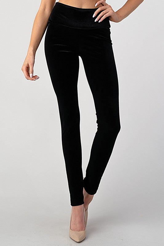 High Waist black velvet leggings!
