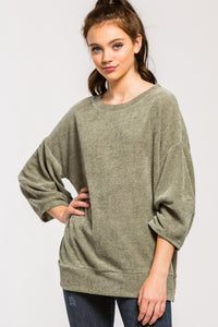 Chenille Balloon Sleeve Top