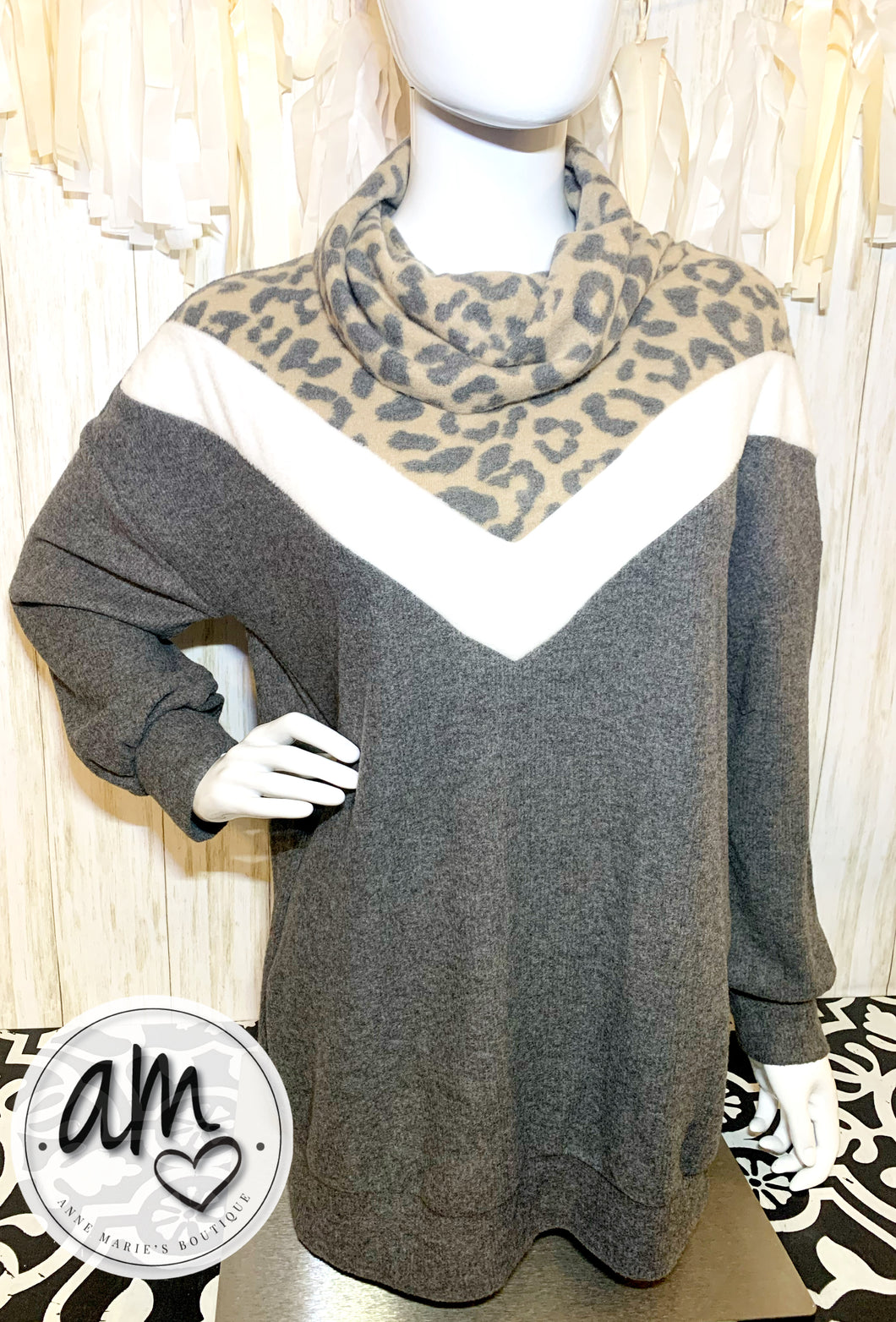 Cozy Leopard Color Block Sweater