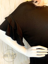 Load image into Gallery viewer, Basic Black Ruffle Top