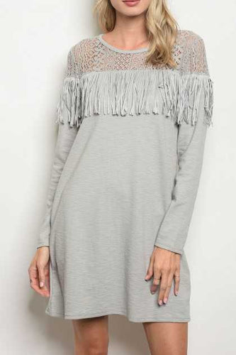 Tunic Dress with Lace & Fringe Top Detail