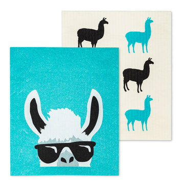 Llama with Shades Dishcloths. Set of 2