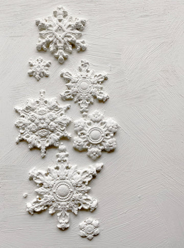 A Seasonal IOD Mould with 10 moulds of snowflakes of varying sizes!  Silicone Mould Dimensions: One single 6