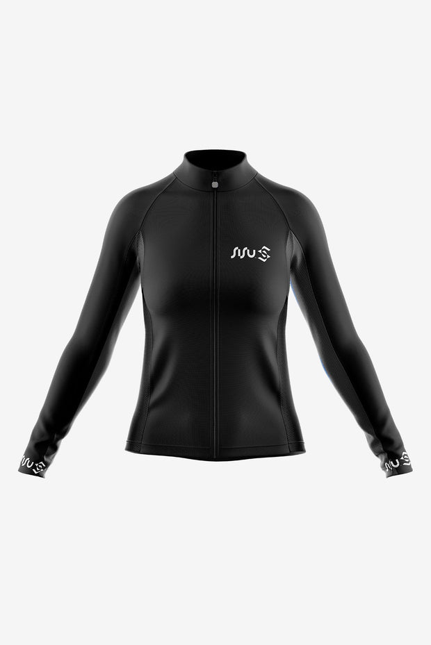 Pro Long Sleeve Jersey Black Front (Women)
