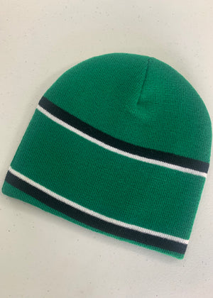 Green and Black Striped beanie
