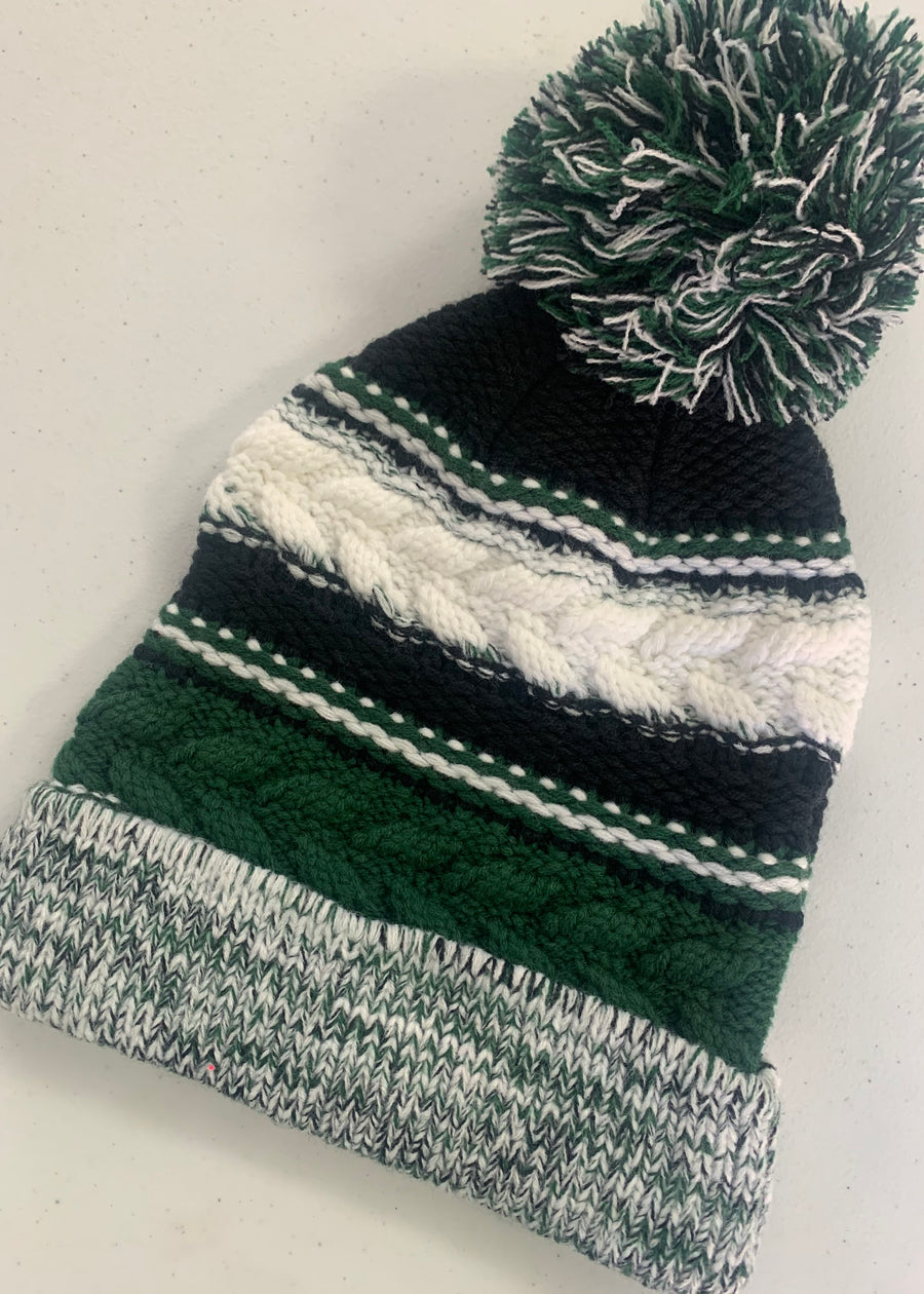 Green and White Pom Knit Beanie